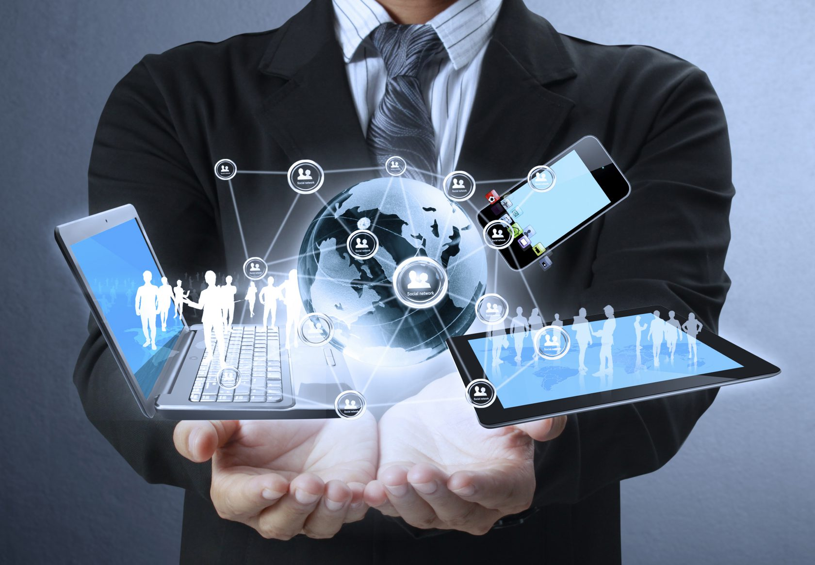 Technology in the hands of businessmen